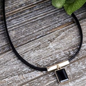NWT LEATHER & 14K GOLD PLATED PENDANT NECKLACE
